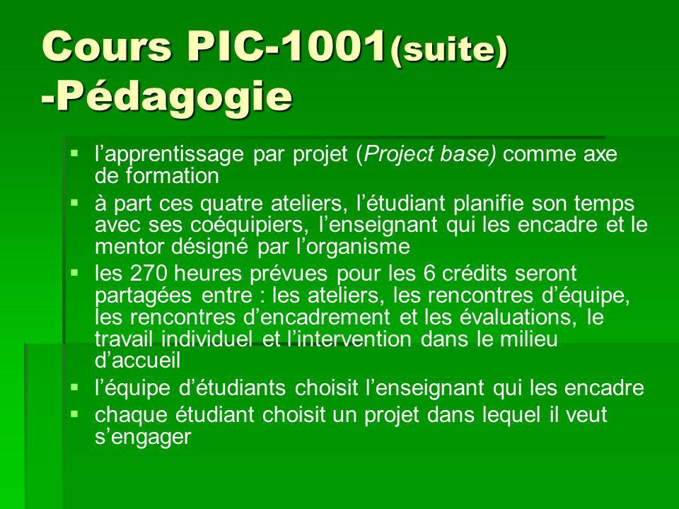 Cours PIC-1001 (suite) -Pédagogie lapprentissage par projet (Project base) comme axe de formation à part ces quatre ateliers, létudiant planifie son t