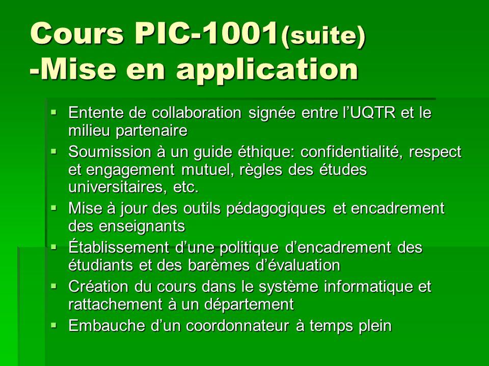 Cours PIC-1001 (suite) -Mise en application Entente de collaboration signée entre lUQTR et le milieu partenaire Entente de collaboration signée entre lUQTR et le milieu partenaire Soumission à un guide éthique: confidentialité, respect et engagement mutuel, règles des études universitaires, etc.