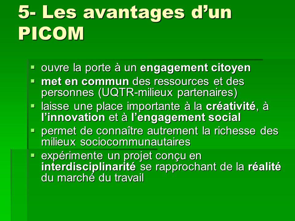 5- Les avantages dun PICOM ouvre la porte à un engagement citoyen ouvre la porte à un engagement citoyen met en commun des ressources et des personnes