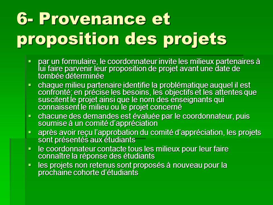 6- Provenance et proposition des projets par un formulaire, le coordonnateur invite les milieux partenaires à lui faire parvenir leur proposition de p