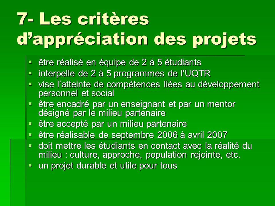 7- Les critères dappréciation des projets être réalisé en équipe de 2 à 5 étudiants être réalisé en équipe de 2 à 5 étudiants interpelle de 2 à 5 prog