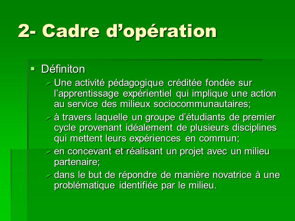 2- Cadre dopération Définiton Définiton Une activité pédagogique créditée fondée sur lapprentissage expérientiel qui implique une action au service de