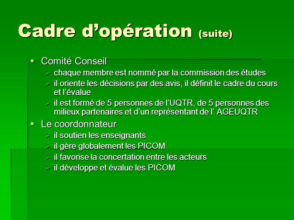 Cadre dopération (suite) Comité Conseil Comité Conseil chaque membre est nommé par la commission des études chaque membre est nommé par la commission