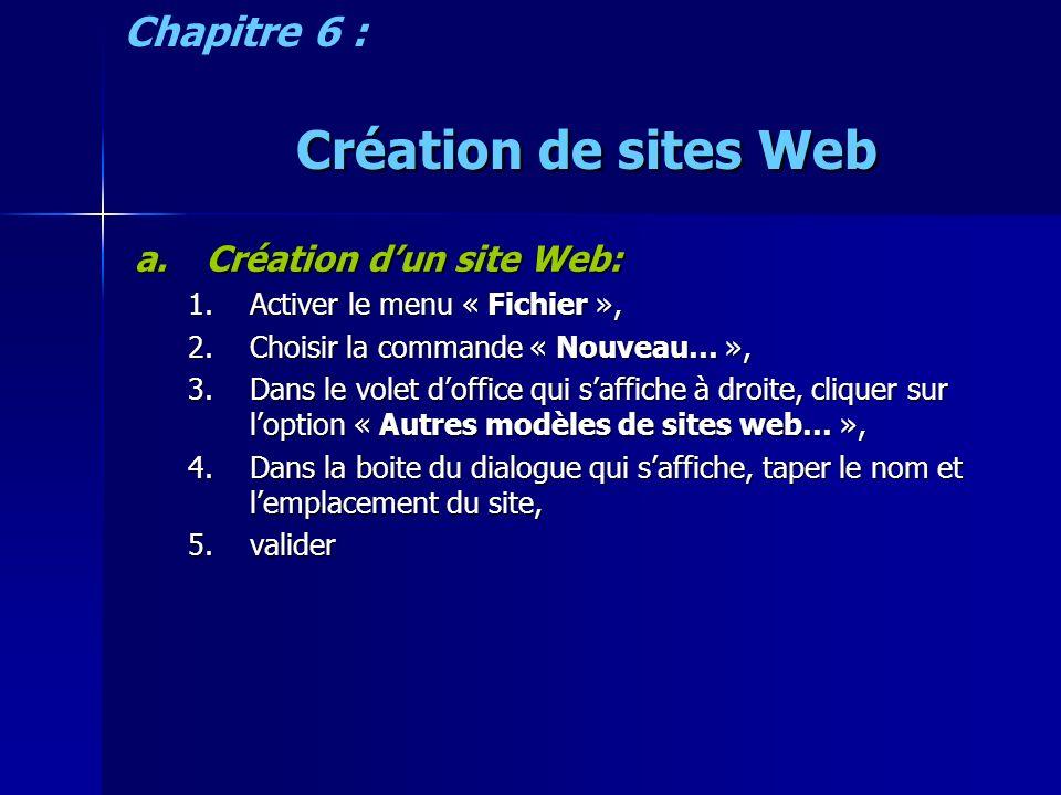 Création de sites Web a.Création dun site Web: 1.Activer le menu « Fichier », 2.Choisir la commande « Nouveau… », 3.Dans le volet doffice qui saffiche à droite, cliquer sur loption « Autres modèles de sites web… », 4.Dans la boite du dialogue qui saffiche, taper le nom et lemplacement du site, 5.valider Chapitre 6 :