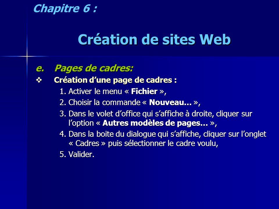 Création de sites Web e.Pages de cadres: Création dune page de cadres : Création dune page de cadres : 1.Activer le menu « Fichier », 2.Choisir la com