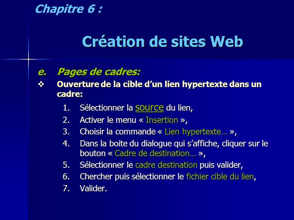 Création de sites Web e.Pages de cadres: Ouverture de la cible dun lien hypertexte dans un cadre: Ouverture de la cible dun lien hypertexte dans un cadre: 1.Sélectionner la source du lien, 2.Activer le menu « Insertion », 3.Choisir la commande « Lien hypertexte… », 4.Dans la boite du dialogue qui saffiche, cliquer sur le bouton « Cadre de destination… », 5.Sélectionner le cadre destination puis valider, 6.Chercher puis sélectionner le fichier cible du lien, 7.Valider.