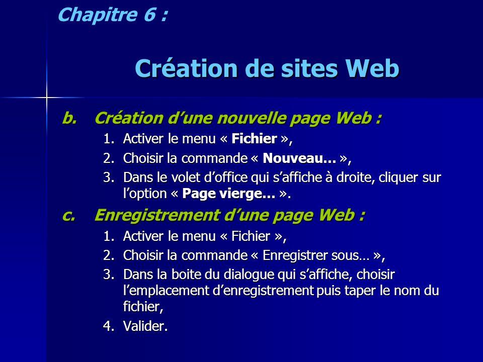 Création de sites Web b.Création dune nouvelle page Web : 1.Activer le menu « Fichier », 2.Choisir la commande « Nouveau… », 3.Dans le volet doffice qui saffiche à droite, cliquer sur loption « Page vierge… ».