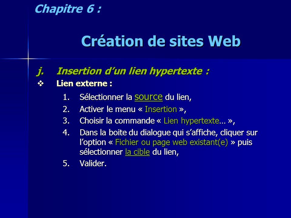 Création de sites Web j.Insertion dun lien hypertexte : Lien externe : Lien externe : 1.Sélectionner la source du lien, 2.Activer le menu « Insertion