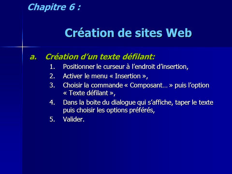 Création de sites Web a.Création dun texte défilant: 1.Positionner le curseur à lendroit dinsertion, 2.Activer le menu « Insertion », 3.Choisir la commande « Composant… » puis loption « Texte défilant », 4.Dans la boite du dialogue qui saffiche, taper le texte puis choisir les options préférés, 5.Valider.