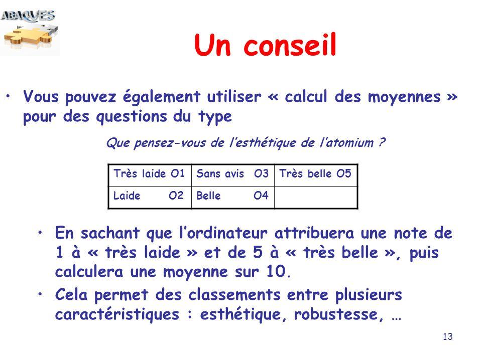 13 Un conseil Vous pouvez également utiliser « calcul des moyennes » pour des questions du type Que pensez-vous de lesthétique de latomium .
