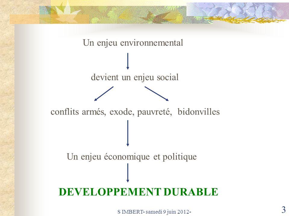 S IMBERT- samedi 9 juin 2012- 4 ECONOMIE SOCIAL ENVIRONNEMENT Le Développement Économique: modèle planétaire actuel