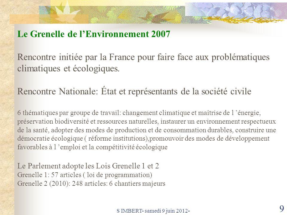 S IMBERT- samedi 9 juin 2012- 9 Le Grenelle de lEnvironnement 2007 Rencontre initiée par la France pour faire face aux problématiques climatiques et écologiques.