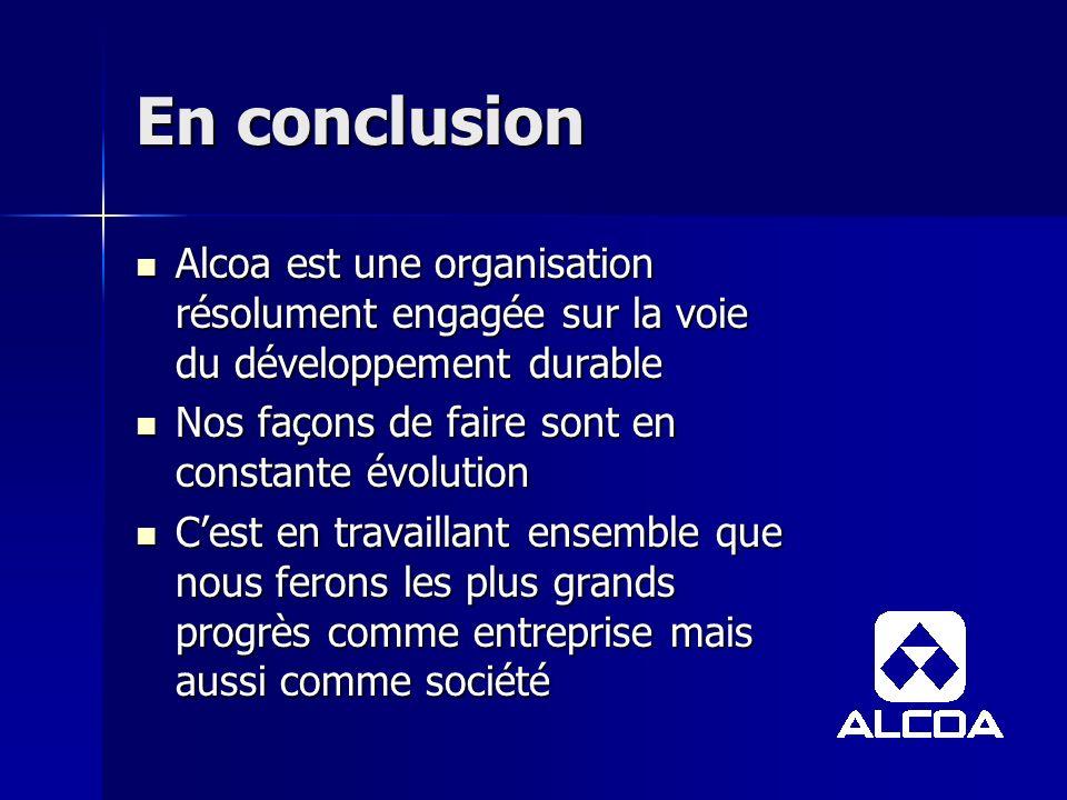 En conclusion Alcoa est une organisation résolument engagée sur la voie du développement durable Alcoa est une organisation résolument engagée sur la