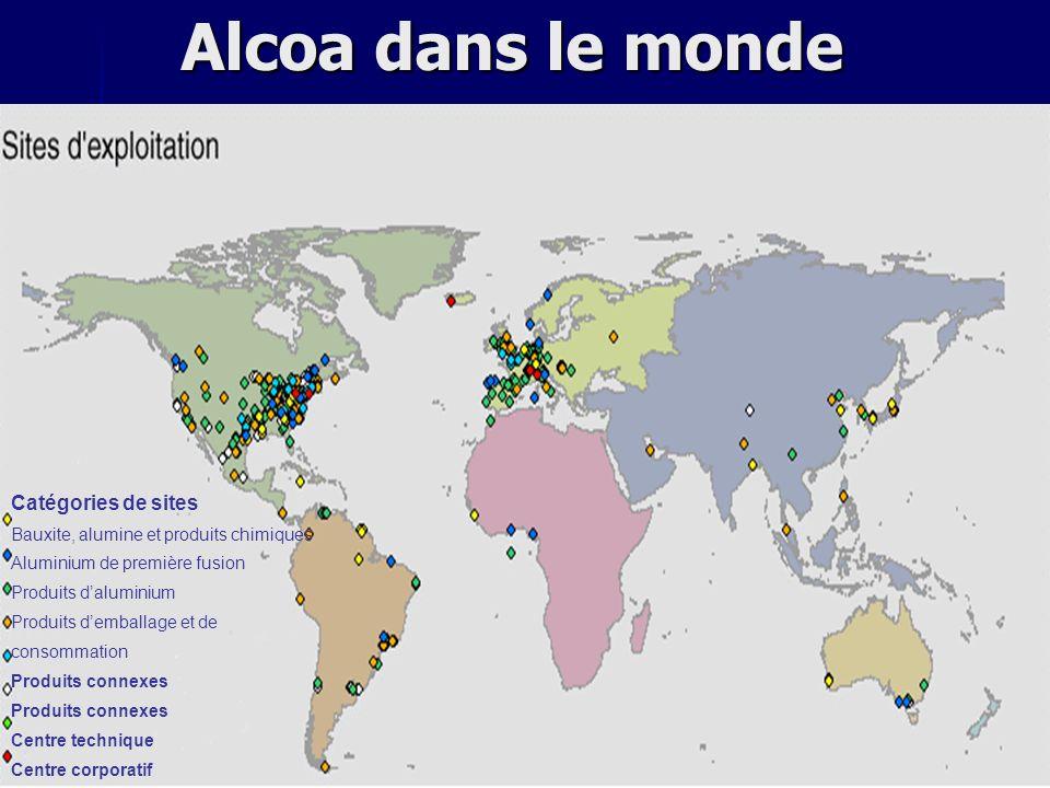 Alcoa dans le monde Catégories de sites Bauxite, alumine et produits chimiques Aluminium de première fusion Produits daluminium Produits demballage et