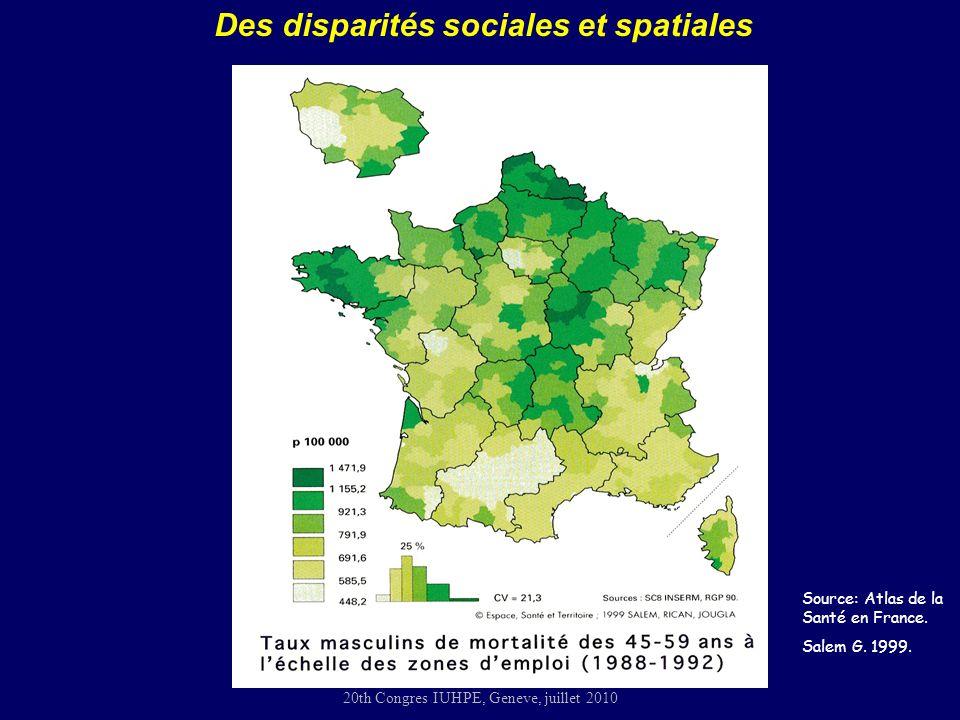 20th Congres IUHPE, Geneve, juillet 2010 Source: Atlas de la Santé en France.
