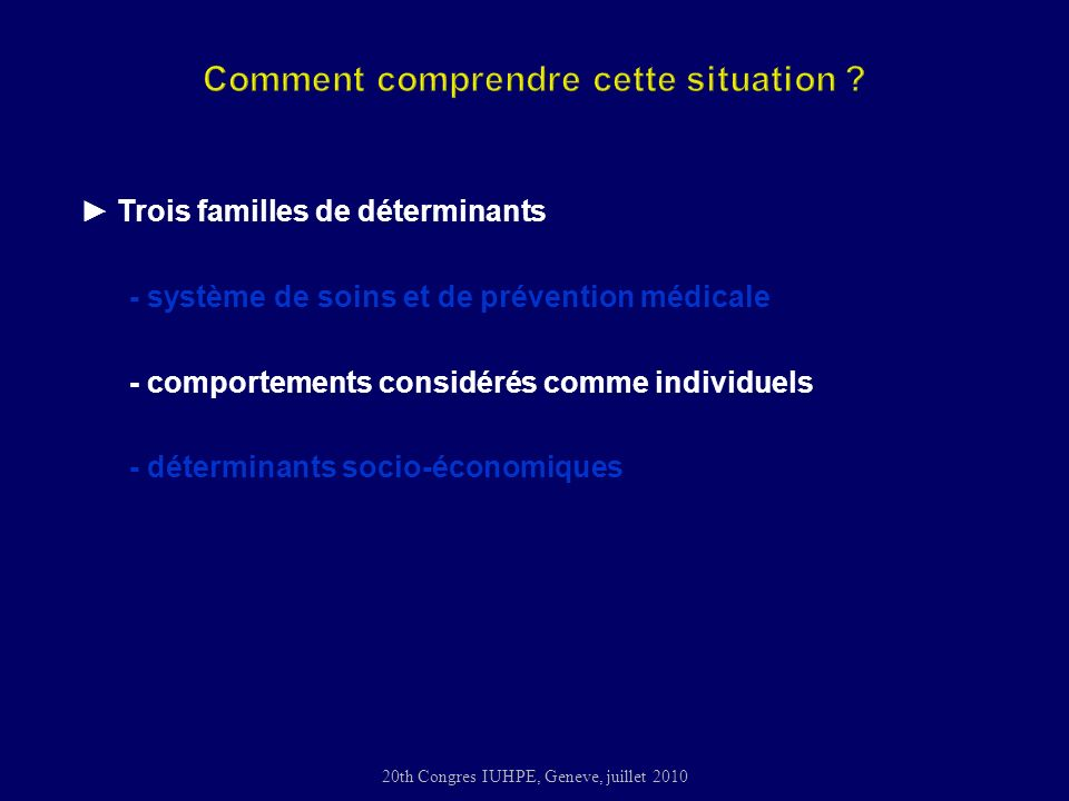 20th Congres IUHPE, Geneve, juillet 2010 Trois familles de déterminants - système de soins et de prévention médicale - comportements considérés comme individuels - déterminants socio-économiques