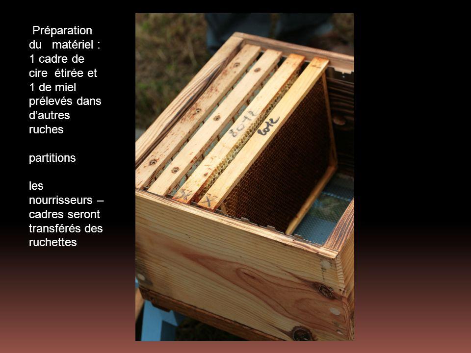 Préparation du matériel : 1 cadre de cire étirée et 1 de miel prélevés dans dautres ruches partitions les nourrisseurs – cadres seront transférés des