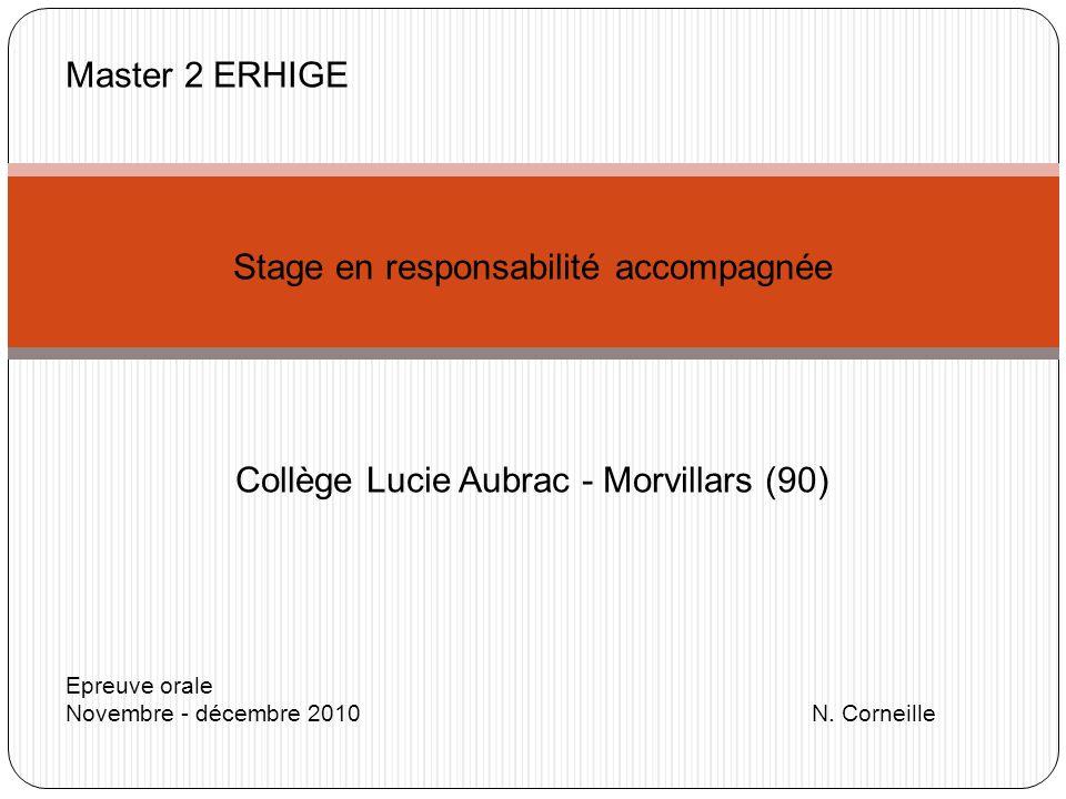 Master 2 ERHIGE Stage en responsabilité accompagnée Collège Lucie Aubrac - Morvillars (90) Epreuve orale Novembre - décembre 2010 N. Corneille