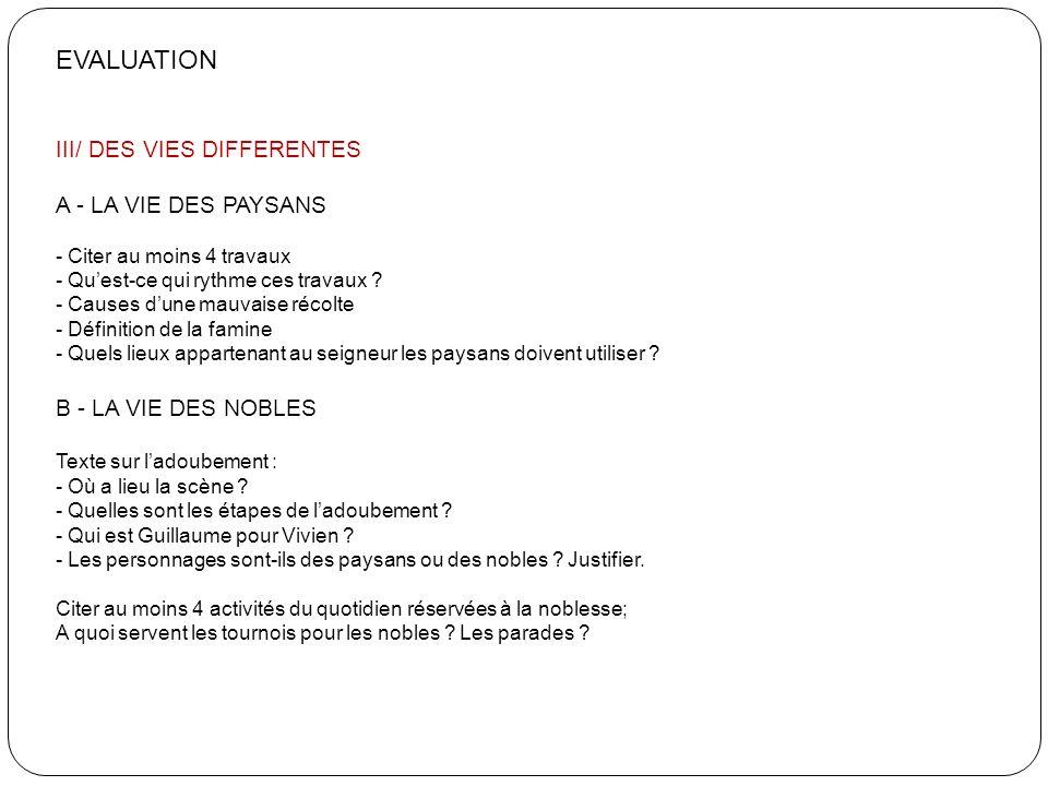 EVALUATION III/ DES VIES DIFFERENTES A - LA VIE DES PAYSANS - Citer au moins 4 travaux - Quest-ce qui rythme ces travaux ? - Causes dune mauvaise réco