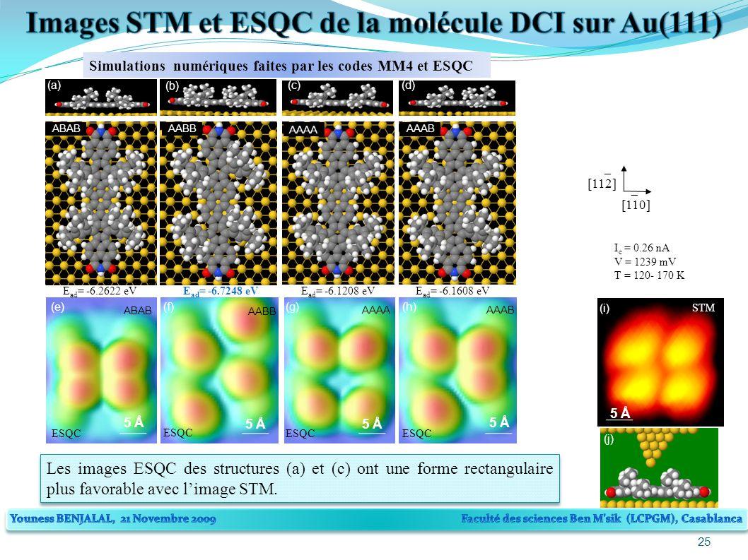 25 [110] [112] _ _ 5 Å (i) STM (j) AAAA (c) E ad = -6.1208 eV AAAB (d) E ad = -6.1608 eV Simulations numériques faites par les codes MM4 et ESQC 5 Å (