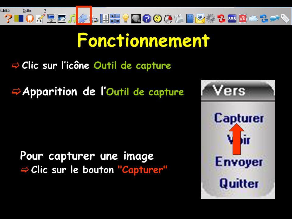 Fonctionnement Clic sur licône Outil de capture Pour capturer une image Clic sur le bouton