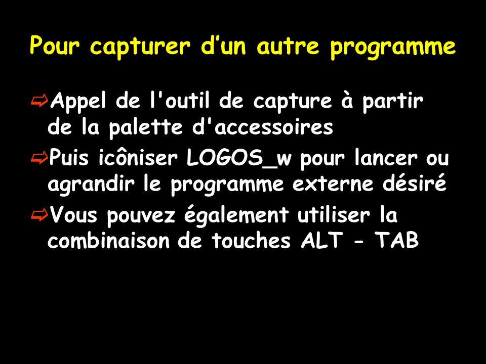 Pour capturer dun autre programme Appel de l'outil de capture à partir de la palette d'accessoires Puis icôniser LOGOS_w pour lancer ou agrandir le pr