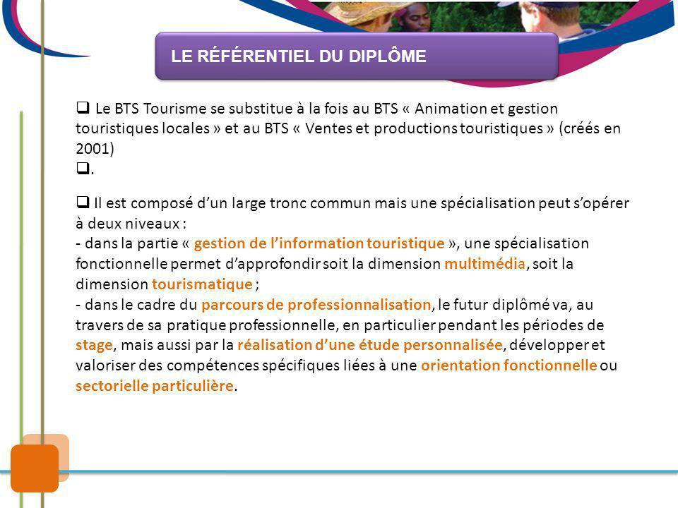 Le BTS Tourisme se substitue à la fois au BTS « Animation et gestion touristiques locales » et au BTS « Ventes et productions touristiques » (créés en