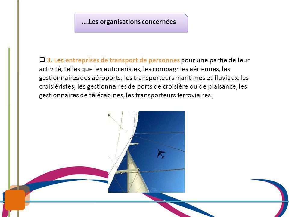 ….Les organisations concernées 3. Les entreprises de transport de personnes pour une partie de leur activité, telles que les autocaristes, les compagn