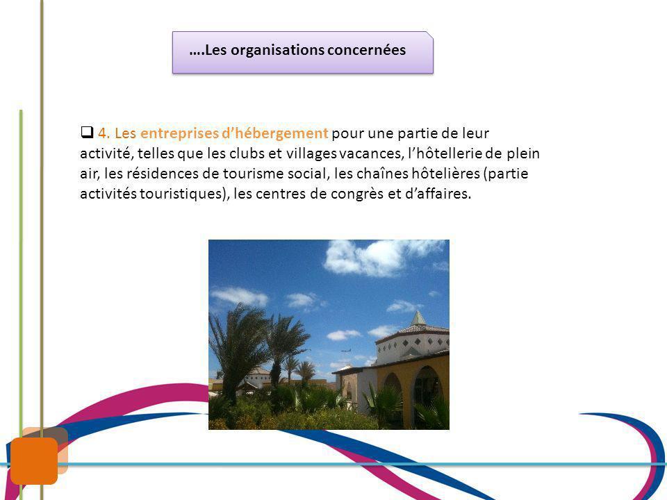 ….Les organisations concernées 4. Les entreprises dhébergement pour une partie de leur activité, telles que les clubs et villages vacances, lhôtelleri