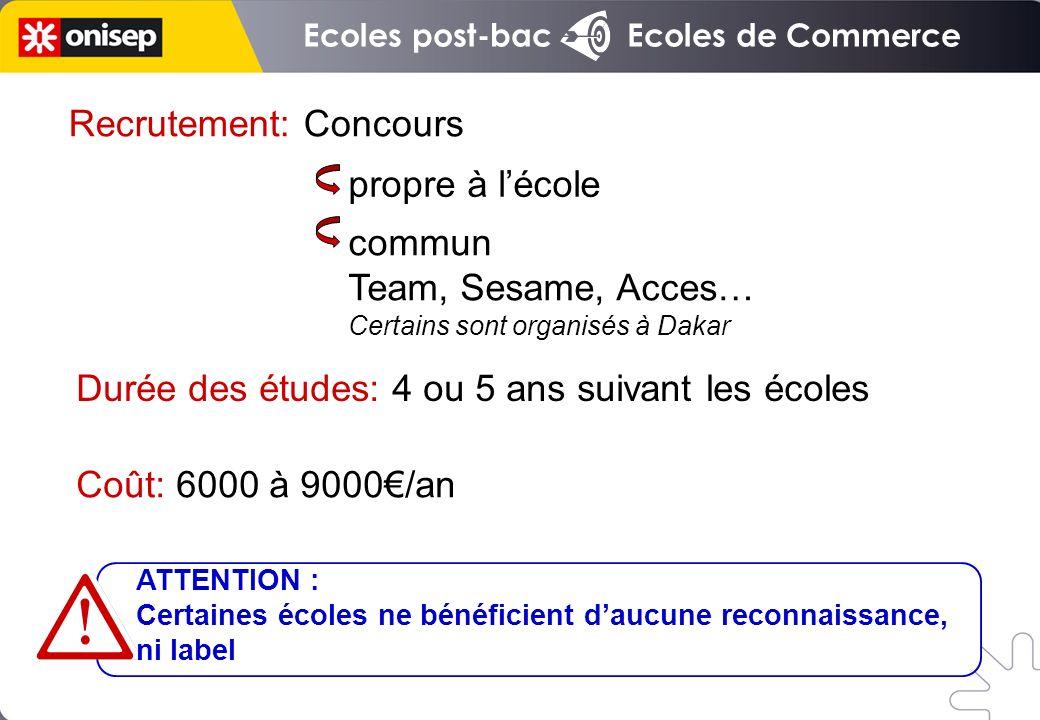 Ecoles post-bac Ecoles de Commerce Recrutement: Concours commun Team, Sesame, Acces… Certains sont organisés à Dakar propre à lécole ATTENTION : Certa