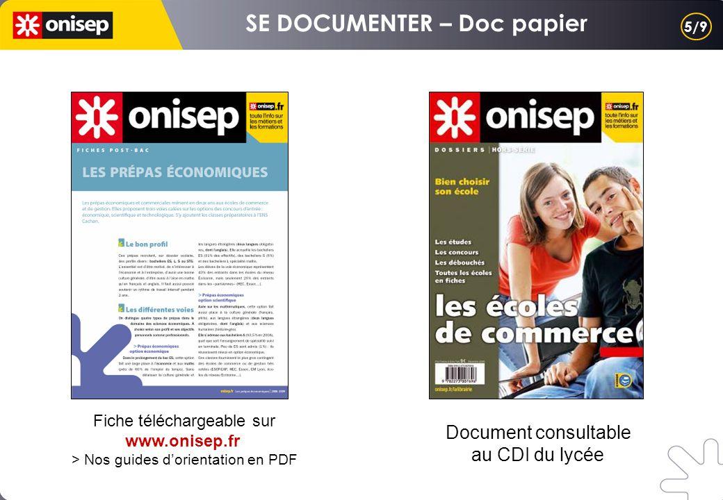 Document consultable au CDI du lycée Fiche téléchargeable sur www.onisep.fr > Nos guides dorientation en PDF 5/9