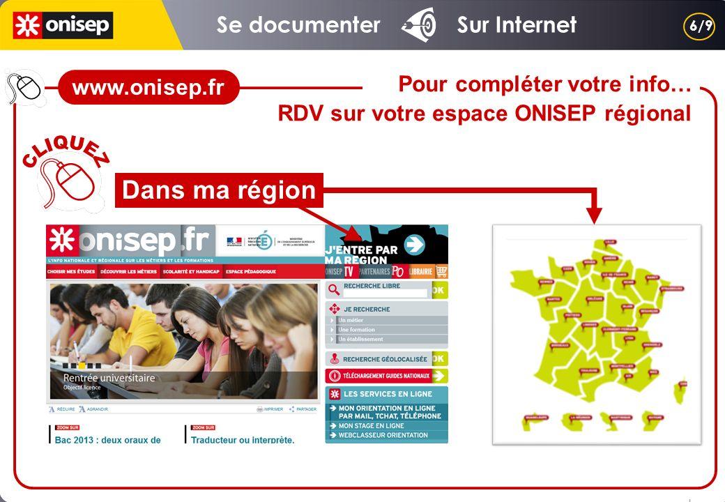 Dans ma région Pour compléter votre info… RDV sur votre espace ONISEP régional 6/9 www.onisep.fr Se documenter Sur Internet