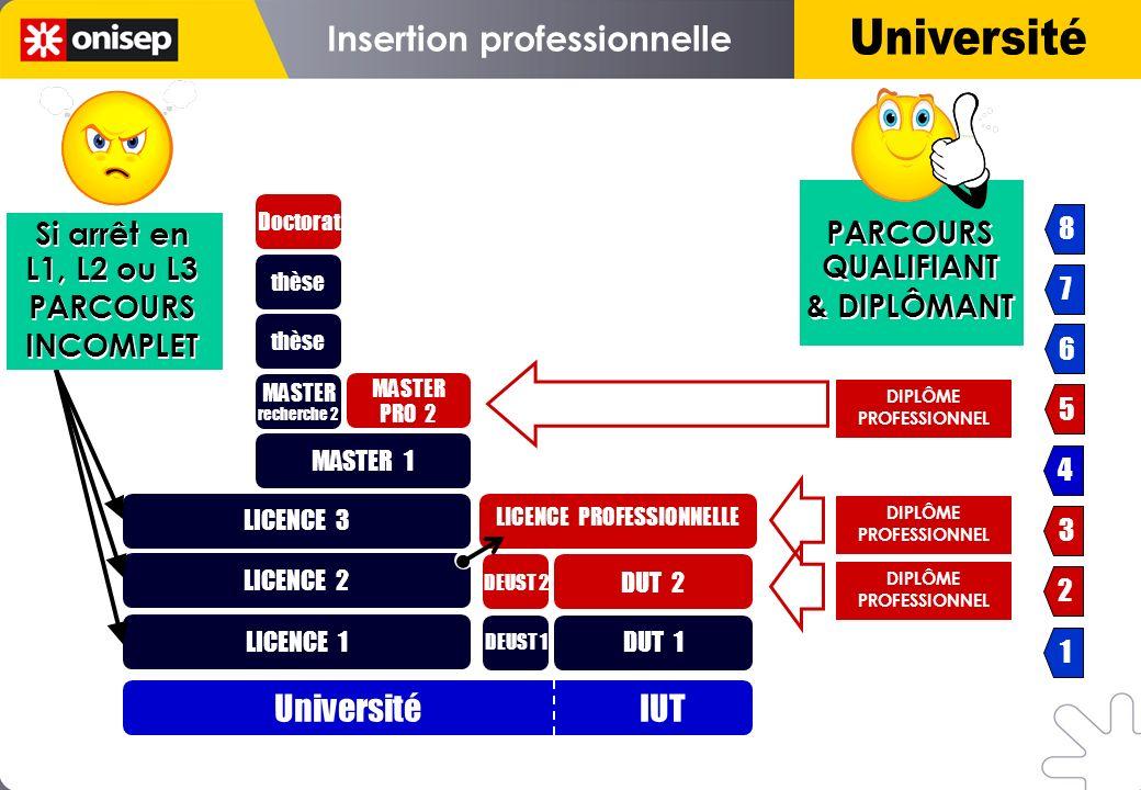 LICENCE 2 LICENCE PROFESSIONNELLE DIPLÔME PROFESSIONNEL DIPLÔME PROFESSIONNEL Université IUT LICENCE 1 LICENCE 3 MASTER 1 MASTER recherche 2 MASTER re