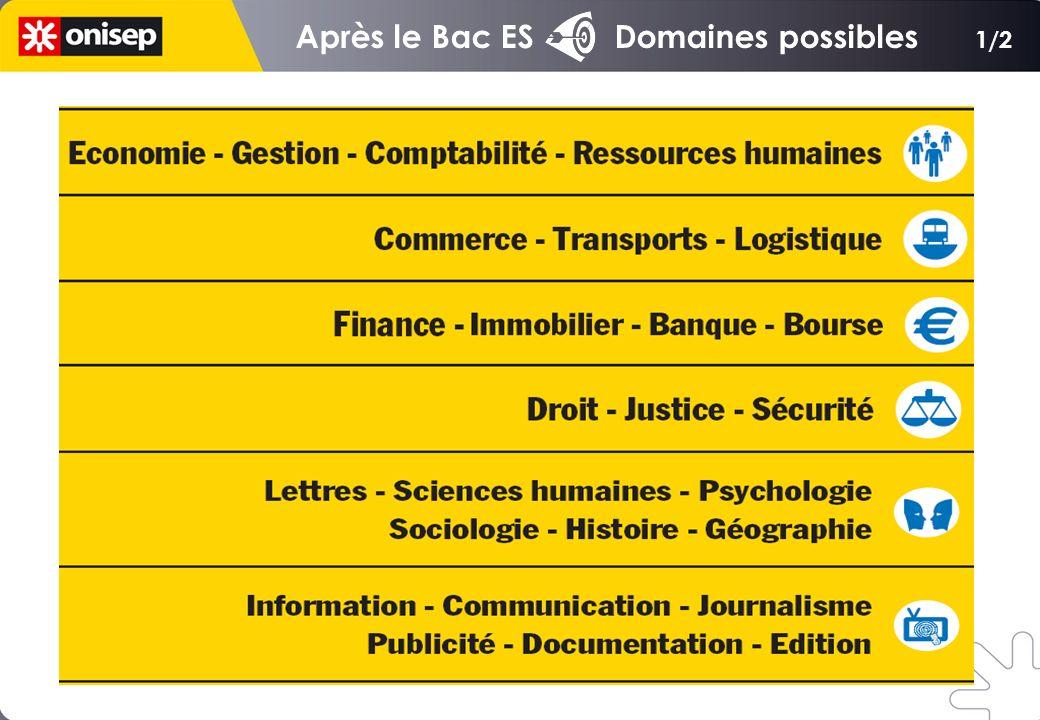 Après le Bac ES Domaines possibles 1/2