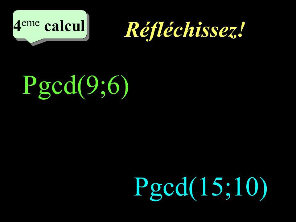 Ecrivez! 2 eme calcul 3 eme calcul 3 eme calcul 3 eme calcul Pgcd(12;6) Pgcd(36;12)