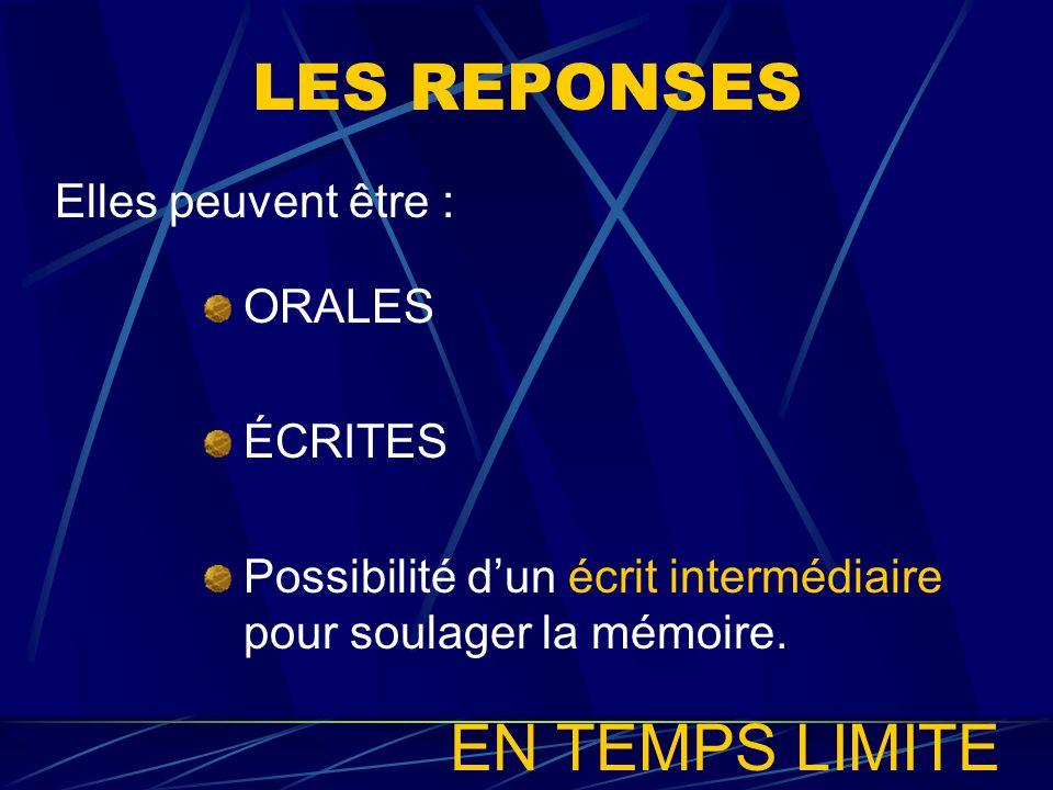 LES REPONSES ORALES ÉCRITES Possibilité dun écrit intermédiaire pour soulager la mémoire. Elles peuvent être : EN TEMPS LIMITE