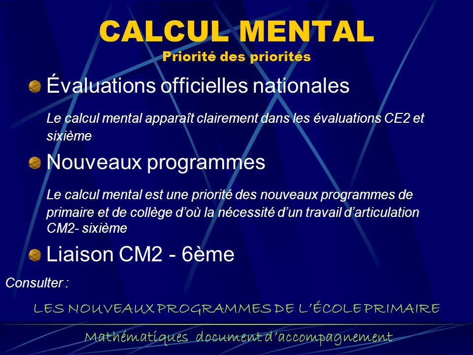 CALCUL MENTAL Priorité des priorités Évaluations officielles nationales Le calcul mental apparaît clairement dans les évaluations CE2 et sixième Nouve