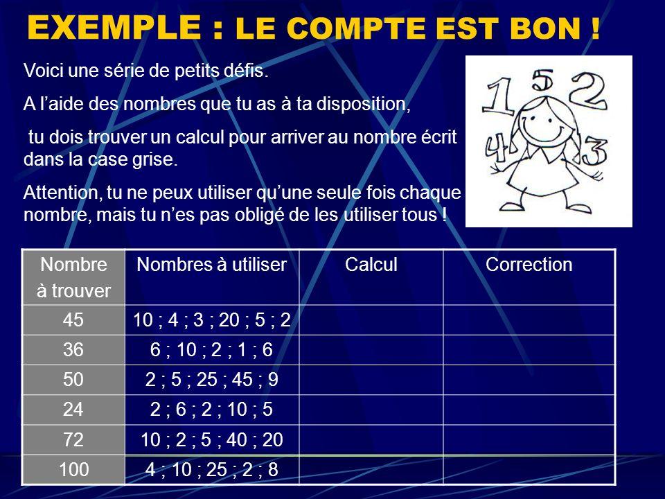 EXEMPLE : LE COMPTE EST BON ! Nombre à trouver Nombres à utiliserCalculCorrection 4510 ; 4 ; 3 ; 20 ; 5 ; 2 366 ; 10 ; 2 ; 1 ; 6 502 ; 5 ; 25 ; 45 ; 9