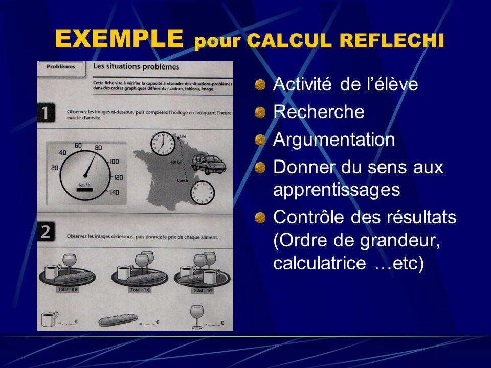 EXEMPLE pour CALCUL REFLECHI Activité de lélève Recherche Argumentation Donner du sens aux apprentissages Contrôle des résultats (Ordre de grandeur, c