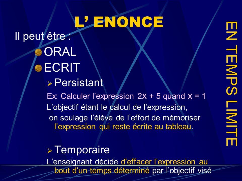 L ENONCE ORAL ECRIT Persistant Ex: Calculer lexpression 2 x + 5 quand x = 1 Lobjectif étant le calcul de lexpression, on soulage lélève de leffort de
