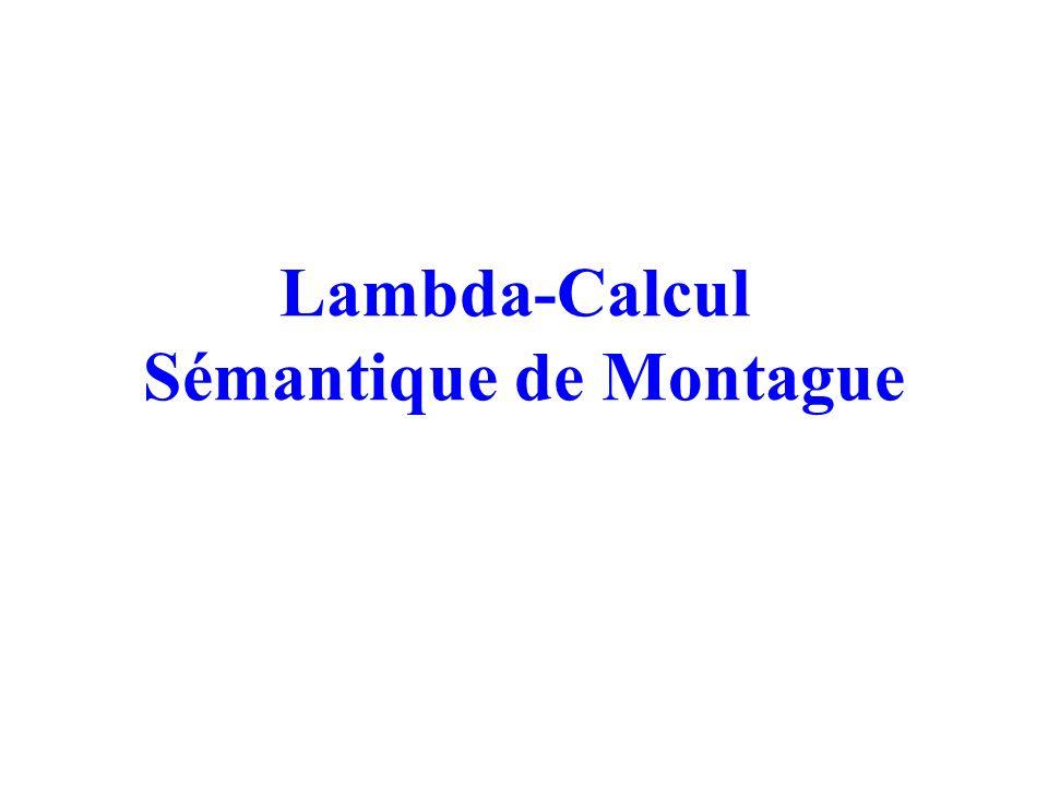Sémantique de Montague Lexique : W SynType* T Condition: w, Lex(w)=(synT, lTerm) où : lTerm=(t1, l1) avec t1=Map(synT) Exemples: Marie: (sn, (e; M)) girl: n, (e t; G) That:((n \ n)/(s / sn), ((e t) (e t) e ; x y z (y z) (x z))) Likes: ((sn \ s)/sn, (e e t ; L)