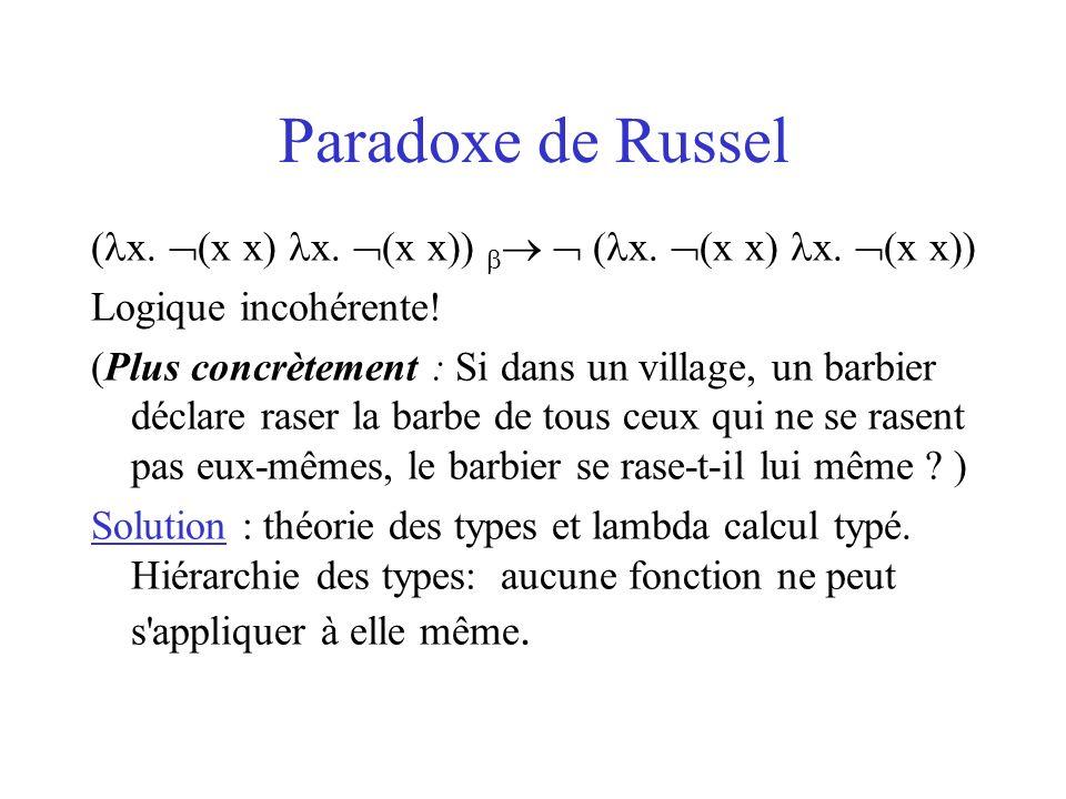 -calcul simplement typé BaseType: ensemble de types de base Si t BaseType alors t Type Si t1, t2 Type alors t1 t2 Type.