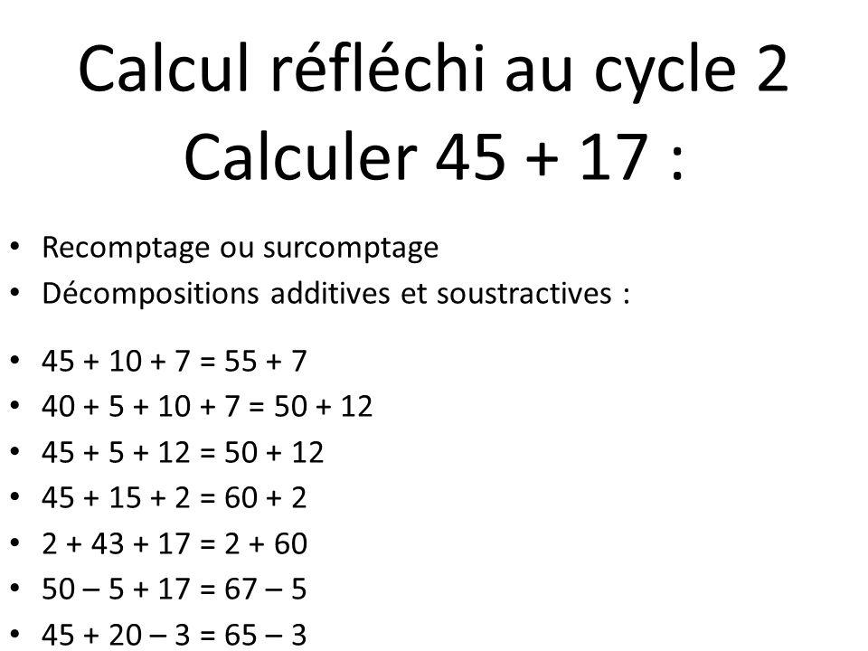 Calcul réfléchi au cycle 2 Calculer 45 + 17 : Recomptage ou surcomptage Décompositions additives et soustractives : 45 + 10 + 7 = 55 + 7 40 + 5 + 10 +