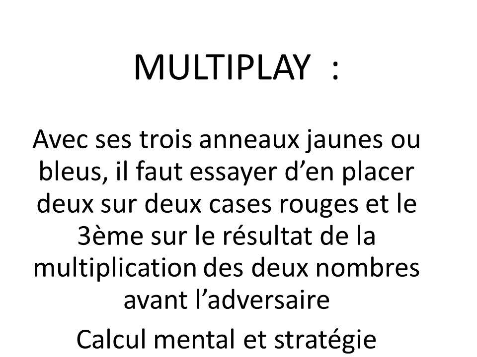MULTIPLAY : Avec ses trois anneaux jaunes ou bleus, il faut essayer den placer deux sur deux cases rouges et le 3ème sur le résultat de la multiplicat