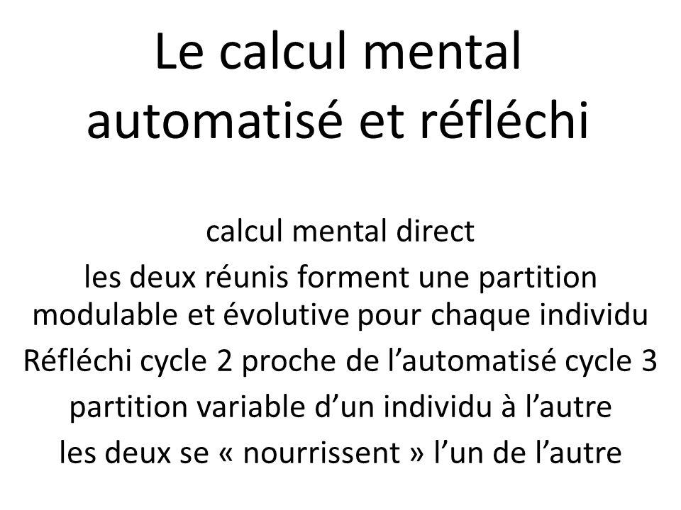 Le calcul mental automatisé et réfléchi calcul mental direct les deux réunis forment une partition modulable et évolutive pour chaque individu Réfléch