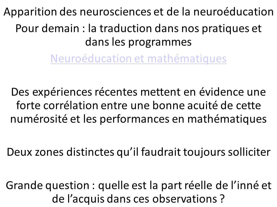 Conséquences pédagogiques : Apparition des neurosciences et de la neuroéducation Pour demain : la traduction dans nos pratiques et dans les programmes