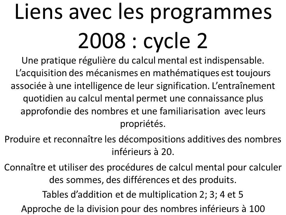 Liens avec les programmes 2008 : cycle 2 Une pratique régulière du calcul mental est indispensable. Lacquisition des mécanismes en mathématiques est t