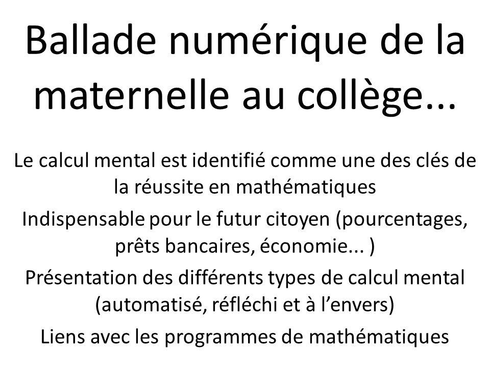 Le calcul mental est identifié comme une des clés de la réussite en mathématiques Indispensable pour le futur citoyen (pourcentages, prêts bancaires,