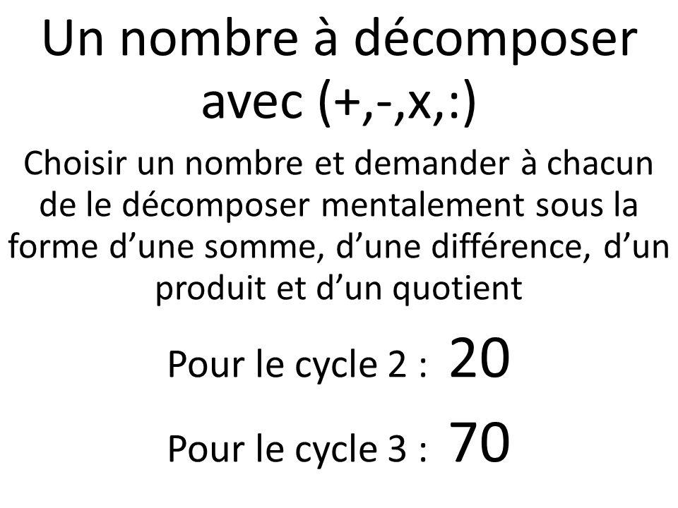 Un nombre à décomposer avec (+,-,x,:) Choisir un nombre et demander à chacun de le décomposer mentalement sous la forme dune somme, dune différence, d