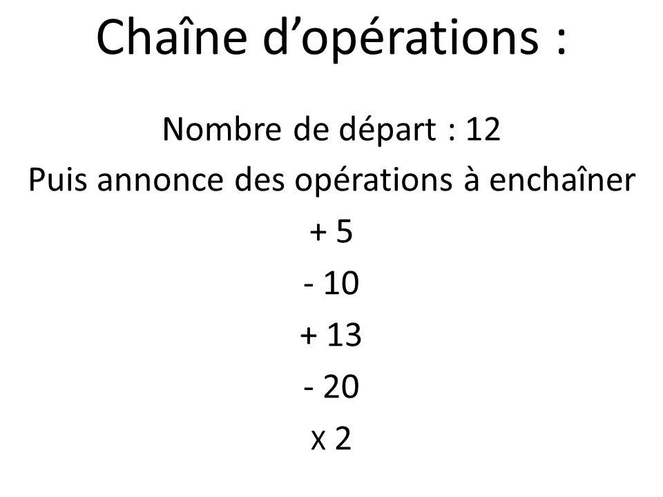 Chaîne dopérations : Nombre de départ : 12 Puis annonce des opérations à enchaîner + 5 - 10 + 13 - 20 X 2